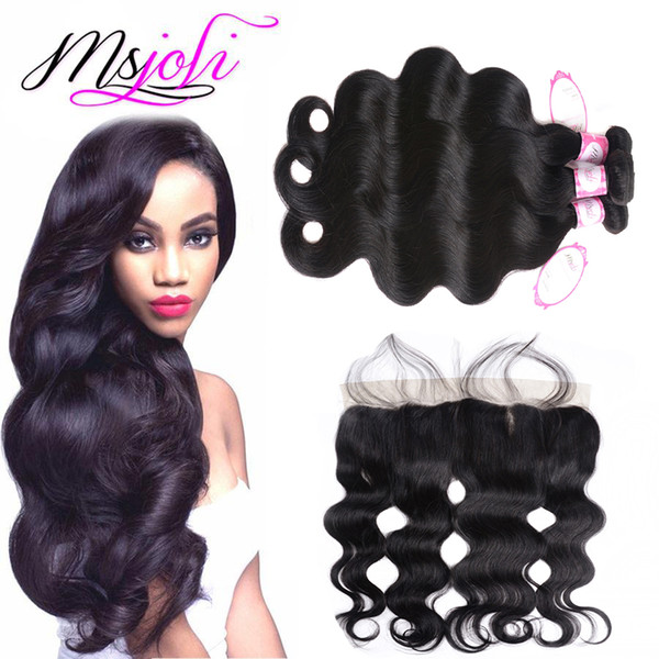 Peruvian Body Wave Virgin Hair Bundles Lace Frontal Ear To Ear 13x4 Lace Frontal Body Wave Unprocessed Hair Weave With Closure