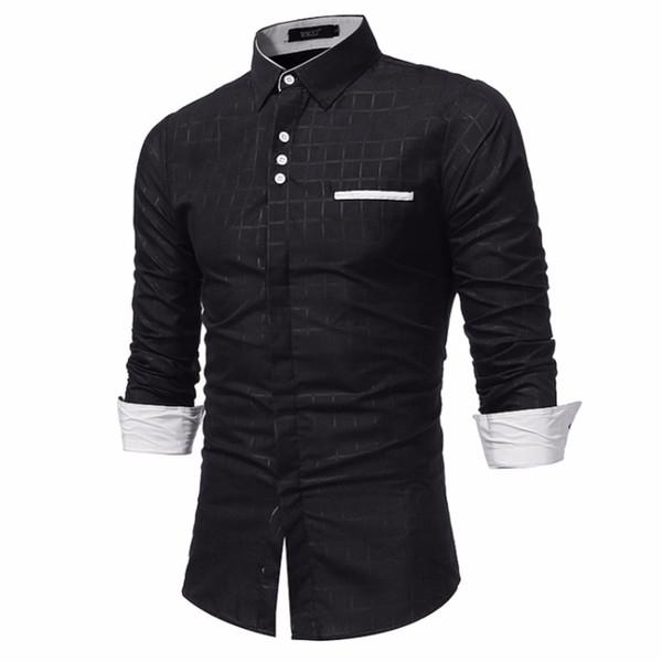 Marke 2017 Mode Männliches Hemd Mit Langen Ärmeln Tops Einfache Plaid Printing Shirt Mens Dress Shirts Dünne Männer XXXL