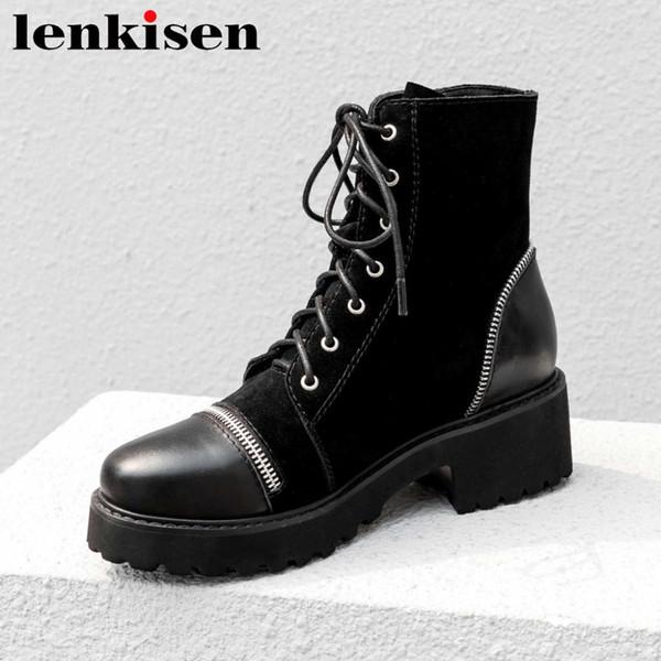 Lenkisen full grain leather modern girls metal ziper round toe med thick heels cross-tied european mid-calf motorcycle boots L03