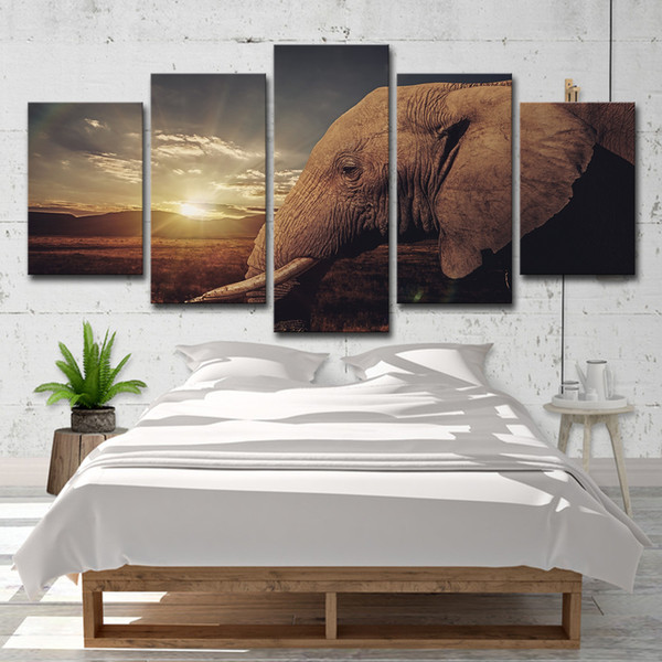 Home Decor Wall Art Canvas Paintings For Living Room Wall Art 5 Panel Sunset African Elephant Landscape Modern Painting