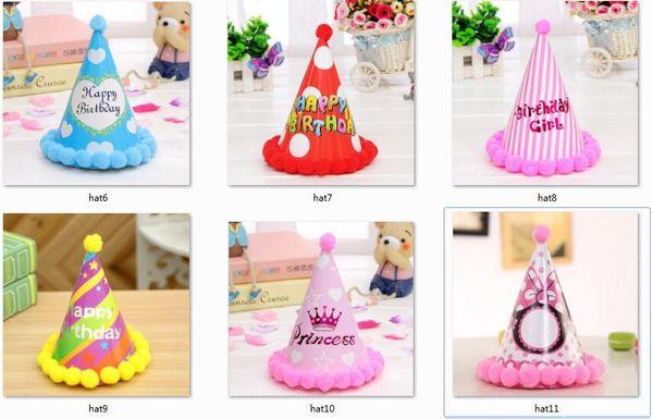 6pcs/lot New Cute cartoon paper birthday hat Children adults Paper Craft ball Princess Pointy Cap Wizard Boy Girl Rainbow Dot