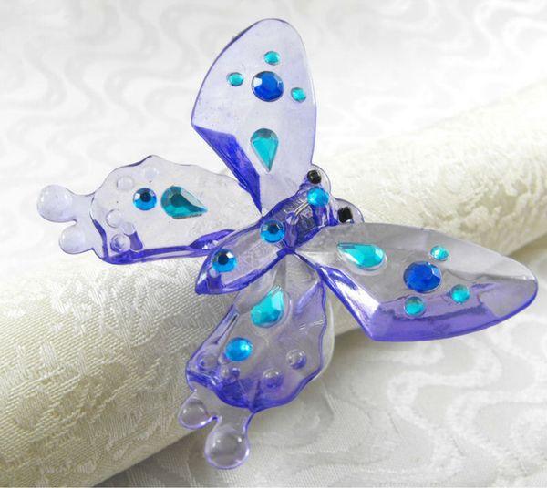 light blue crystal butterfly napkin ring ,wholesale wedding decoration napkin holder,