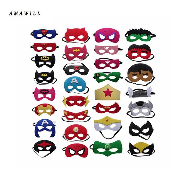Compre Amawill 10 Unids Set Máscara Creativa De Superhéroes De Dibujos Animados Máscara Del Día Del Niño Suministros Para Fiestas Decoración De Boda