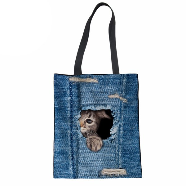 Women Shopping Bag 3D Cat Printing Denim Jeans Beach Bag Student Shoulder Girls Daily Use Handbag Large Capacity Tote