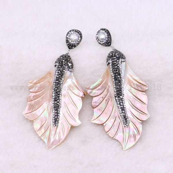 5 pairs shell earrings leaves Drop earring natural stone earrings maple dangle earrings Gems stone jewelry custome jewelry 3392 C18111901