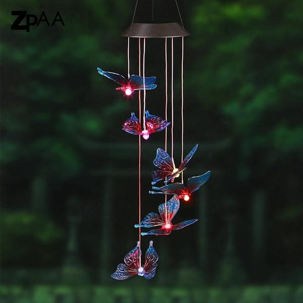 Açık LED Güneş Lambası Hummingbirds yusufçuk Rüzgar Ev Bahçe Dekor Güneş Işık Güneş Enerjili Renk Değiştiren Rüzgar Chime Işık