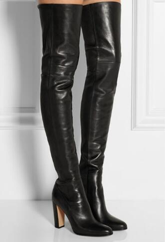 2018 Yeni Siyah Kış Kadın Uyluk Yüksek Çizmeler Kalın Topuk Diz Üzerinde Çizmeler Yüksek Kalite Kadın Ayakkabı