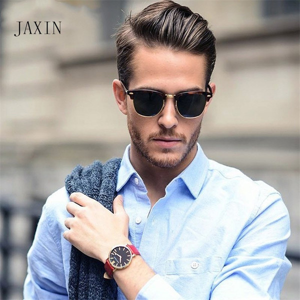 JAXIN Mode Semi-Metall Männer Frauen Sonnenbrille Marke Designer Gläser Spiegel klassische Retro Sonne Vergaser UV400 Lunette de Soleil