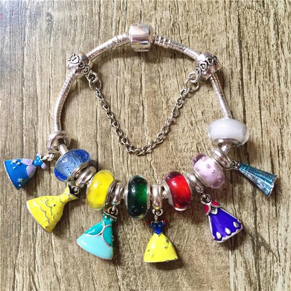 2018 New Exquisite Princess Dress Charms Perline Bracciali Perle di vetro di Murano Bracciali Donna; S Gioielli Fai da te Preziosi regali 15 -21 cm