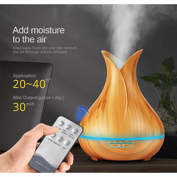 top popular 400ml LED Aroma Essential Oil Diffuser Ultrasonic Air Humidifier conditioners with Wood Grain 7 Color Changing LED Lights Mist Maker 2020