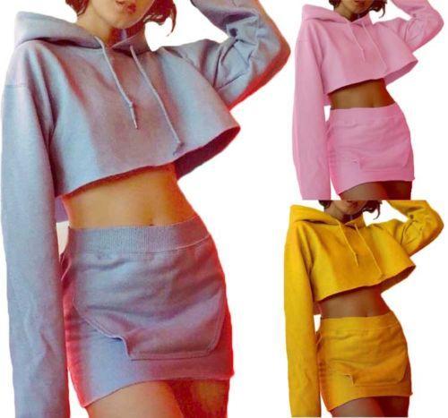 Women Fashion Casual Hoodie Crop Tops pencil skirt Mini Pullover Ladies Womens Hooded Sewatshirts Skirts Clothing 2pcs