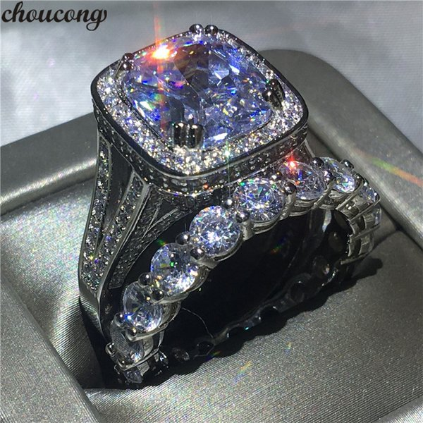 choucong Lovers ring set cushion cut 8ct Clear 5A zircon Cz White Gold Filled 925 silver Engagement Wedding Band Rings For Women S18101608