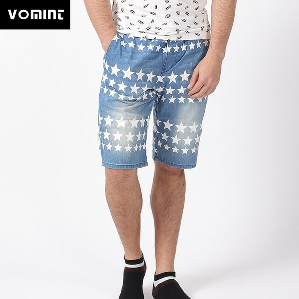 20187 Vomint 2018 New Mens Shorts Summer Denim Stars Printing Short Jeans Knee Length Drawstring Rubber Shorts H6JI4331