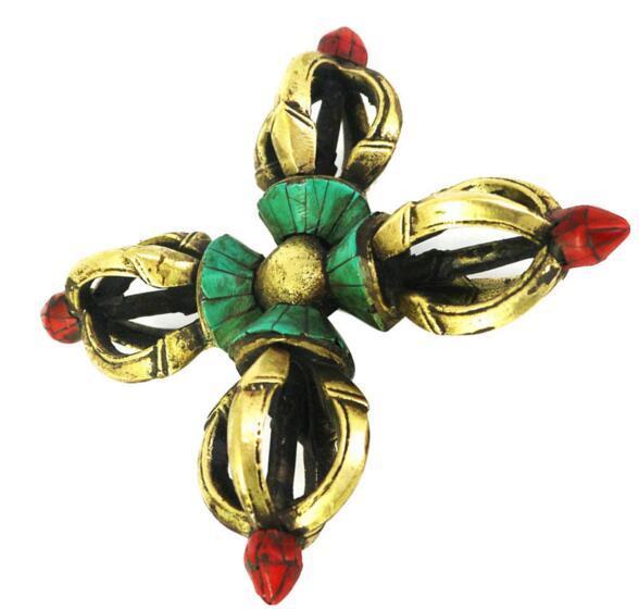 Tibetan Buddhism Copper Cross Dorje Vajra Pestle Office/Car Ornaments Gifts
