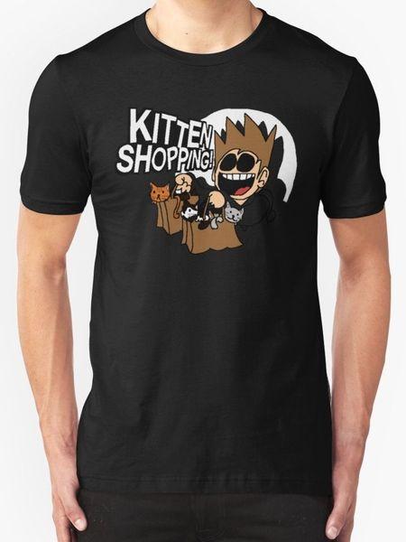 Eddsworld Kitten Shopping New T-Shirt Men's Black T Shirt Men Top Design Short Sleeve Cotton Custom Big Size Team T-Shirts