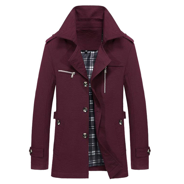 ISHOWTIENDA Trench Coat Uomo 2018 Giacca a vento Cappotto lungo Uomo Turn Dwon Colletto Button Moda Red Trench Jacket Manteau Homme