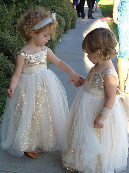 Sparkly Gold Sequined Spaghetti Flower Girls Dresses For Wedding Cheap Kids Girls Party Skit Pretty Baby little girls pageant princess Gowns