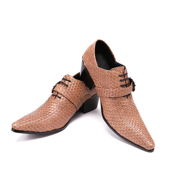 Christia Bella Men's Fashion Embossed Genuine Leather Buckle Oxford Zapatos Mujer Mens Shoes Dress Suit Party Business Men Shoes