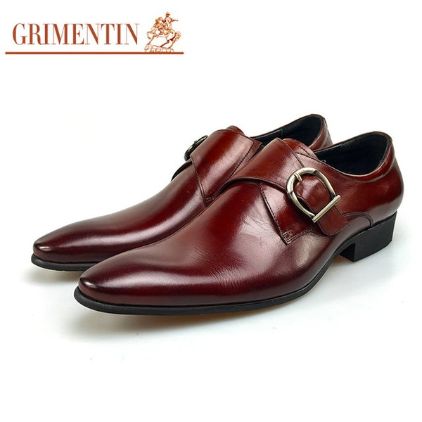 GRIMENTIN High grade mens dress shoes fashion Italian designer male oxford shoes genuine leather buckle strap business formal men shoes