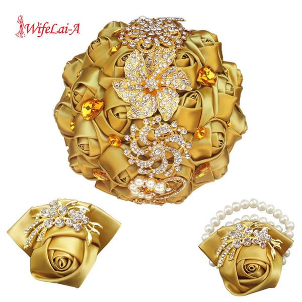 Or haut de gamme mariée tenant des fleurs de demoiselle d'honneur broche bijou cristal bling bling poignet corsage mariage bouquet de mariée ensemble