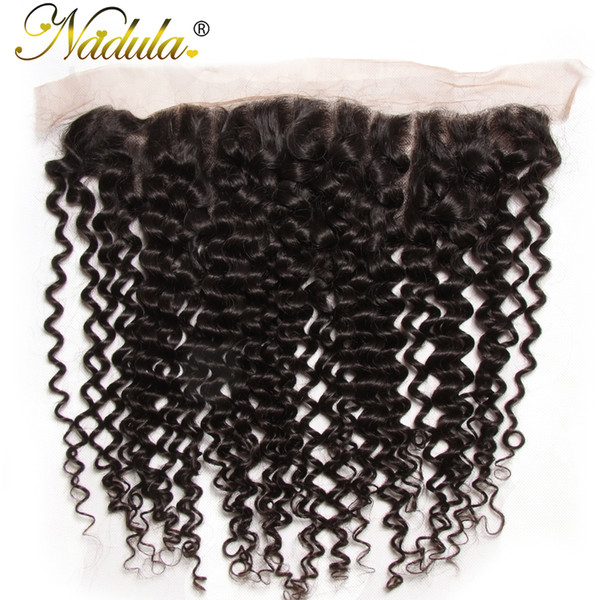Nadula Hair 130% Density Brazilian Curly Hair Lace Frontal Non Remy 13x4 Ear to Ear Free Part Closure Natural Color