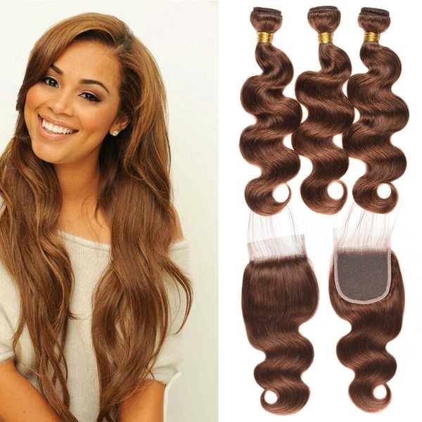 Wholesale Indian Body Wave Virgin Human Hair Bundles with Closure #4 Light Brown Non-remy Hair Extension 3 Bundles with Top Lace Closure