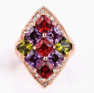Women fashion dress jewelry high quality color gemstone crystals diamond ring Christmas queen lady festival gift party love