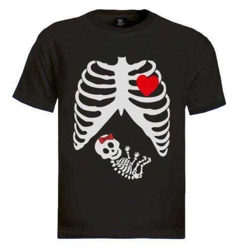 Incinta Scheletro baby GIRL T-Shirt gotica maternità Halloween x-ray parodia 100% Cotone Tee Shirt Per Uomo Moda Stile Uomo Tee