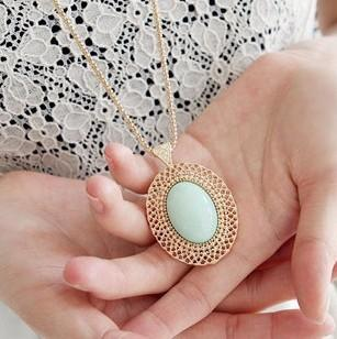 ZOSHI 2018 New Fashion accessories oval cutout gem necklace lovers necklace Golden Plated Chain Vintage Necklaces women jewelry