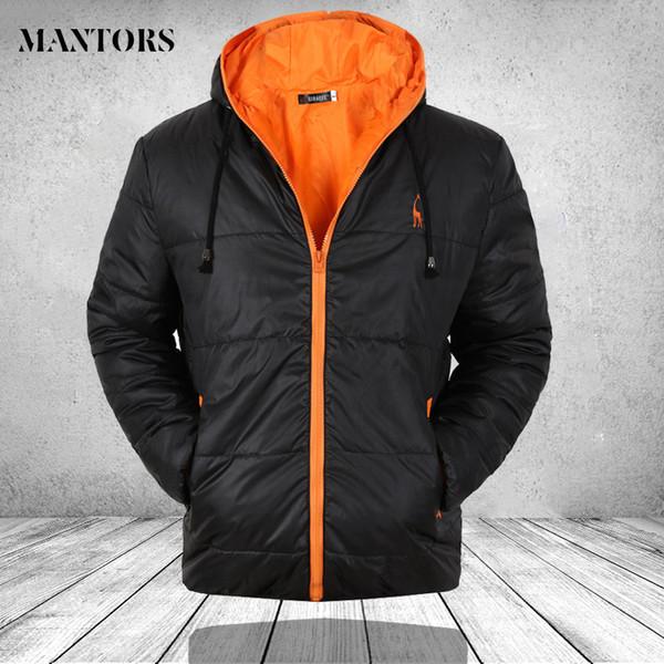 Winter Men Jacket Zipper Windproof Hoody Jacket Man Mountaineering Overcoat Mens Casual Hooded Parkas Warm Outwear Black Blue