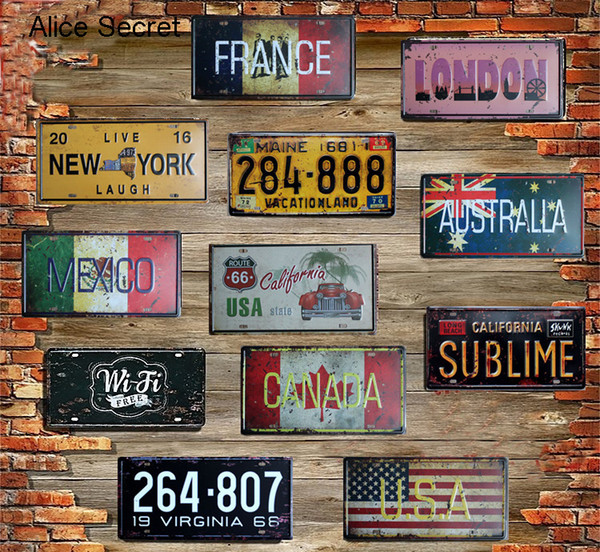 usa vintage metal tin signs route 66 car number plates license metal plate poster bar club garage tin home decoration sign