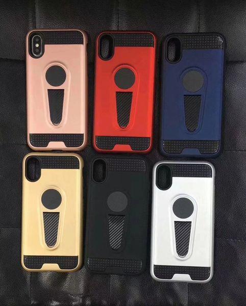 King`s Zırh serisi TPU + PU hibrid cep telefonu kılıfı iphone 5 S SE 6 6 s 6 artı 7 8 artı X