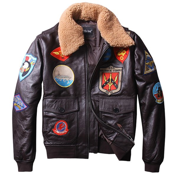 Factory 2018 New Men's Classical Genuine Leather Motorcycle Leather Jacket Tom Cruise Top Gun Winter Coats