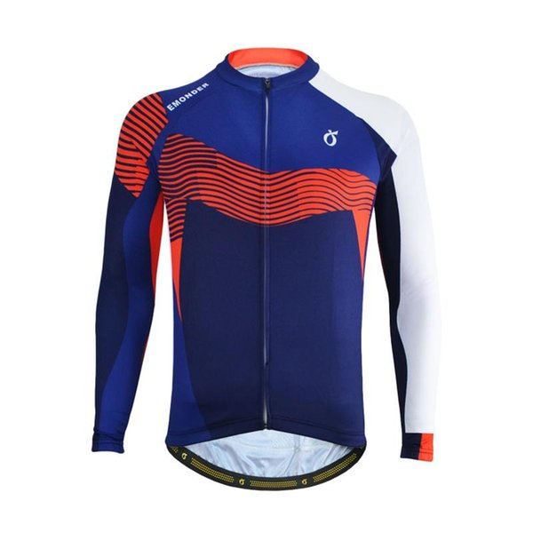 EMONDER Men Cycling Jerseys Long Sleeve Pro Fit Road Bike MTB Top Jersey Spring Summer Breathable Quick Dry Cycling Clothings