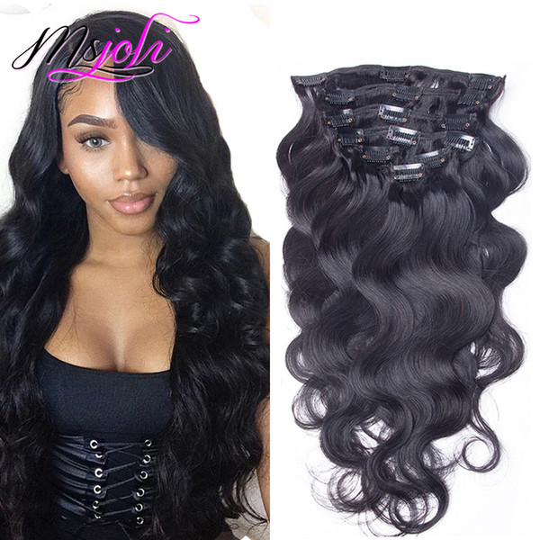 top popular Brazilian Body Wave Malaysian Virgin Human Hair 120G Clip In Extension Full Head Natural Color 7Pcs lot 12-28 Inches From Ms Joli 2019