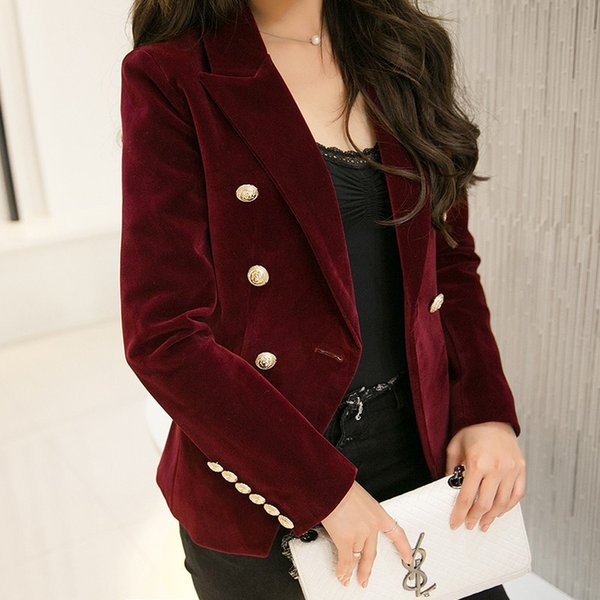 New Spring Fashion Women Midnight Navy Slim Velvet Blazer Jacket Double Breasted Simple Lady Blazers High Grade OL Clothing