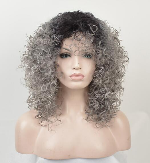 Synthetic Short Grey Afro Kinky Curly Wigs For Women Black Silver African American Natural False Hair Gray Bob Wig Beyond Beauty