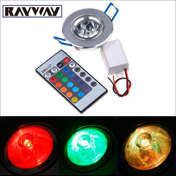 5pcs/lot 3W RGB LED Recessed Ceiling Down Light 16Color Change LED colorful Lamp Downlight Remote Controller for decoration
