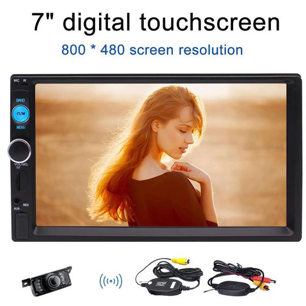 Eincar Bluetooth Doble 2 Din Car stereo Cámara de visión trasera inalámbrica Frontal USB / TF PORT FM Aux Input 7 '' Universal Digital HD Bluetooth