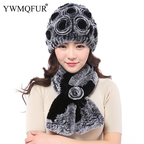 Winter Rex Rabbit Fur Scarf Hat Sets For Women Thick Warm Real Fur Female Beanies Ladies Cap Scarves Set 2018 Hot Sale YWMQFUR