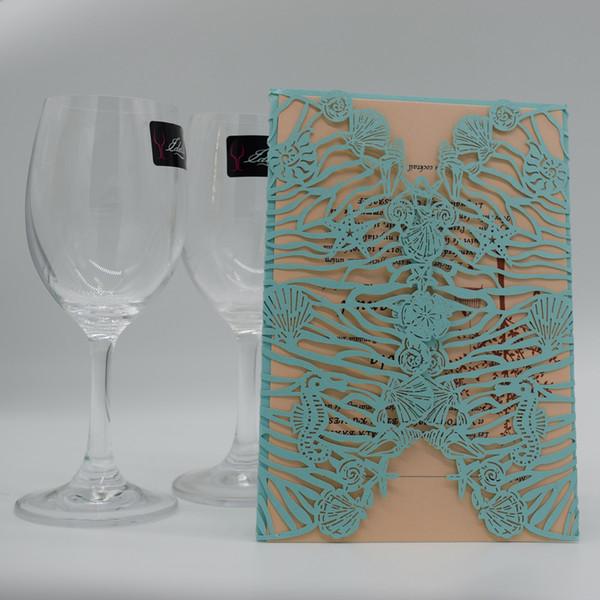 Compre Invitación Azul De La Boda Del Banquete De Boda Personalizada Hueco Tarjetas Para Imprimir Tarjetas De Invitación Con Envío Gratis Sobre Libre