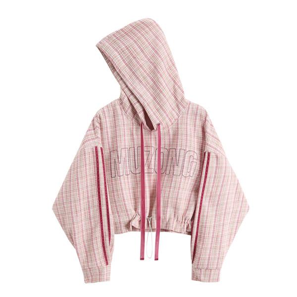 Crop Hoodies Sweatshirts 2018 Autumn Korean Women Fashion Plaid Pink Hooded Pullover Letters Hoodies Plaid Sweatshirt