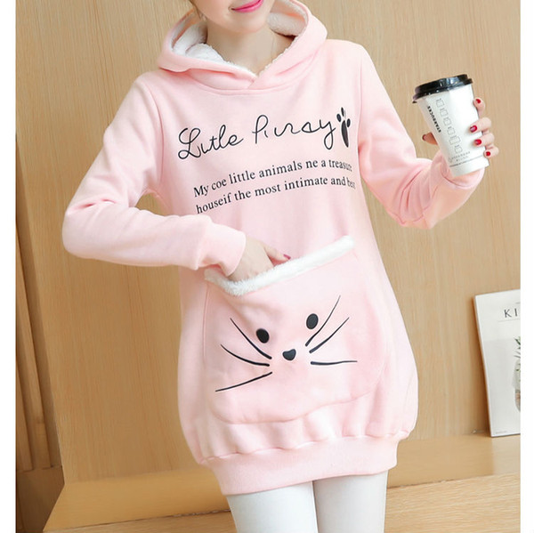 aa2186fc5 2018 Women Cat Lovers Hoodie Cuddle Pouch Pet Hoodies Casual Kangaroo  Pullovers Cartoon Casual Sweatshirt Fleece