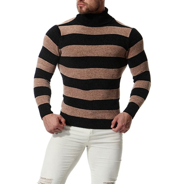 Nice New Fashion Men High Lapels Pullover Slim Sweater Men Casual Cotton Striped Knit Bottoming Shirt For Male Autumn Winter