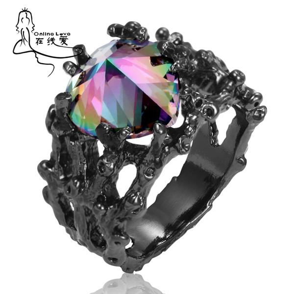 Black-Plated Gun Heart-Shaped Colorful Zircon Dendritic Fashion Pop Ring Luxury Jewelry