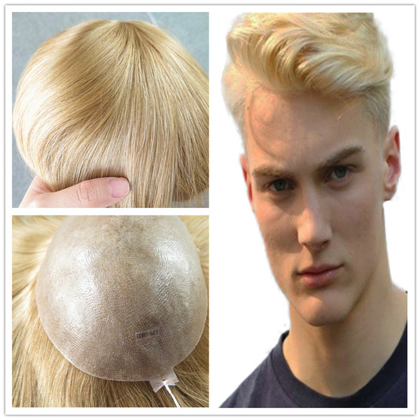 2019 European Natural Hair Toupee For Men Blonde Human Hair Men Toupee  Straight Full PU Base Mens Toupee Hair Replacement System From  Crownhumanhair, ...