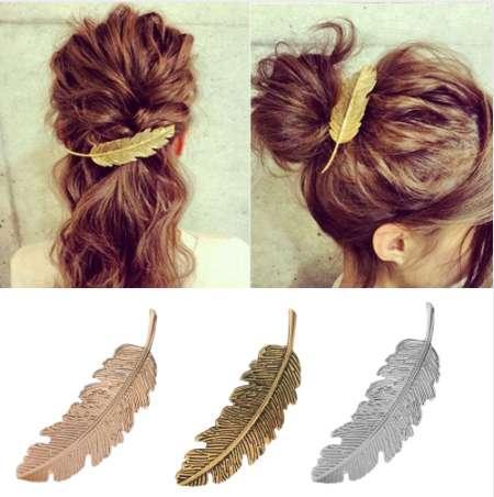 1pcs moda foglia di metallo forma clip di capelli barrettes cristallo perla tornante barrette colore capelli piuma artigli strumento per lo styling dei capelli
