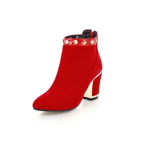 free shopping.YN879Autumn, winter, fashion, rough heels, rivets, red, black, comfortable, short boots