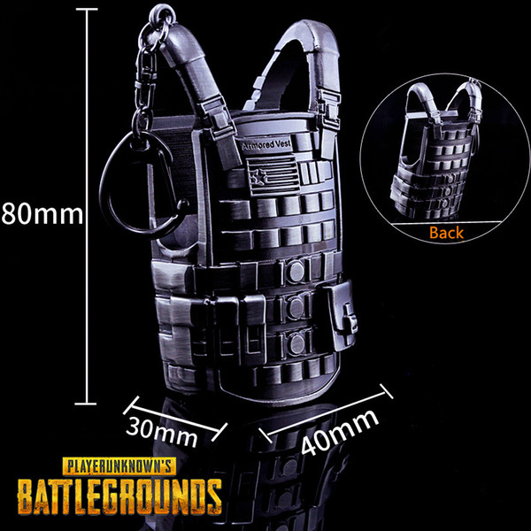 Military Fan Novelty Gift Trinket Keychain Armored Vest Mini Model Key Ring Metal Weapon Collecton PUBG Game Prop Jewelry Unisex