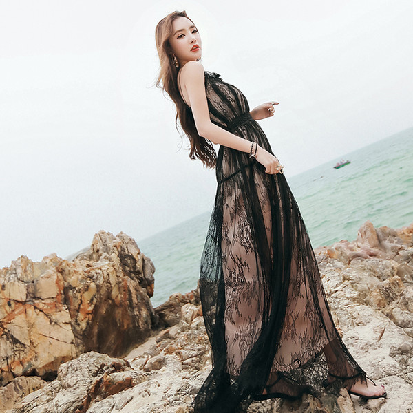 2019 Black Long Sexy Lace Dress Women 2018 Summer Luxury See Through Floor Length Spaghetti Strap Runway Dress Mexican Dress From Clotheszone 3619